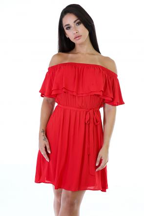 Off-The Shoulder Flowy Hem Dress