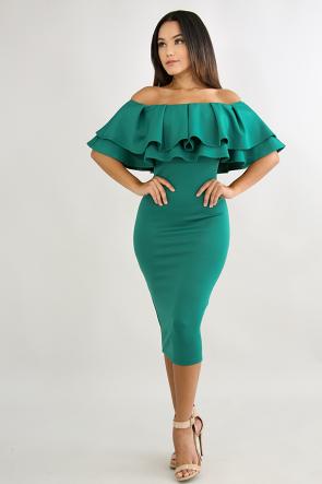 Off Shoulder Double Flare Dress