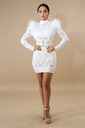 Sequin Feathery Body-Con Dress