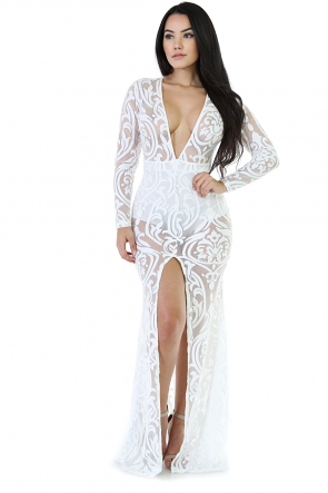 Mesh Prime Mermaid See-Trough Dress