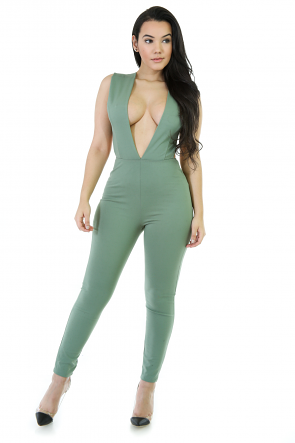 Deep-V Royal Jumpsuit