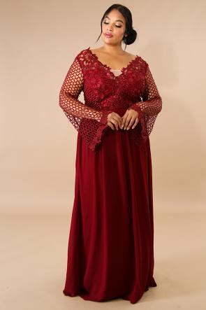 Crochet Chiffon Maxi Dress