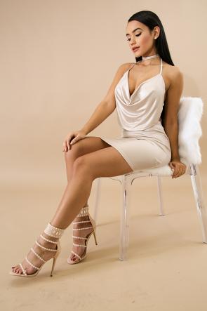 Silk Drape Mini Skirt Set