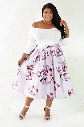 Floral Print Silky Skirt
