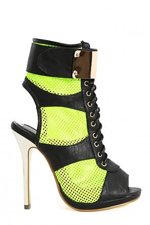 Summer-Stunner Neon Lime Lace Up Fastener Mesh Heels
