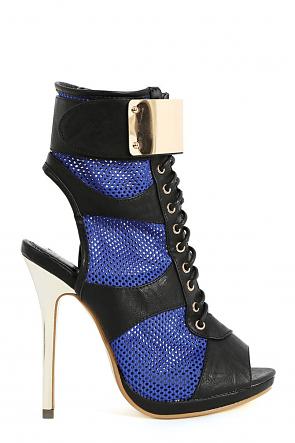 Summer-Stunner Blue Lace Up Fastener Mesh Heels