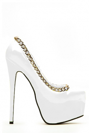 White Yellow Chained Up Platform Heels