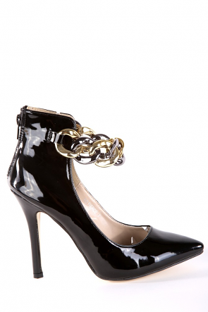 Black Faux Patent Leather Pointed Heels