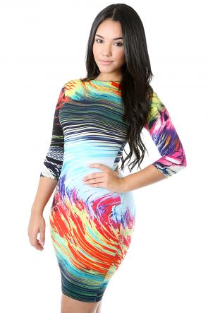 Wave Illusion Bodycon Dress