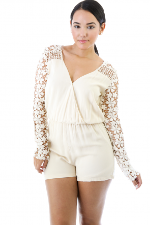 Laced Sleeves Romper