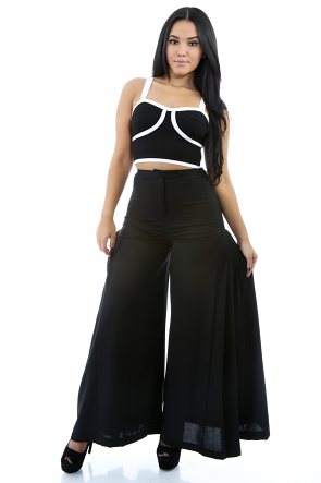 Flare Overlay Wide Legs Pants