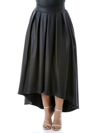 Hi Low Leatherette Skirt
