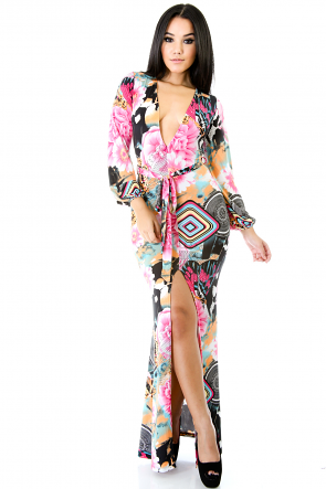 Flower Rumble Portrait Maxi Dress