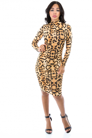 Cheetah Drape Dress