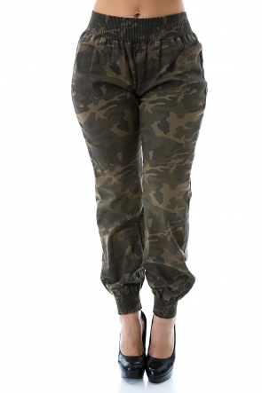 Elastic Camo Fitted Pants