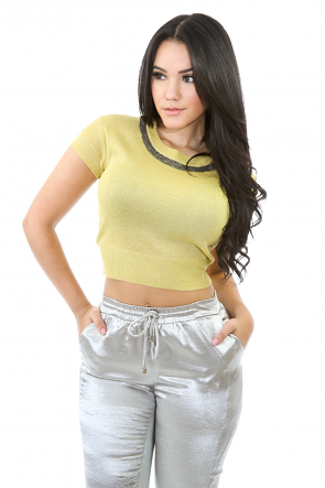 Metallic Bandy Gem Top