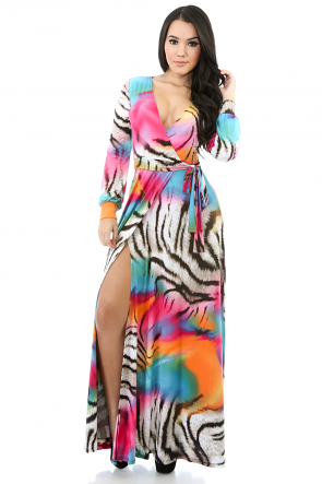 Rainbow Zebra Print Maxi Dress