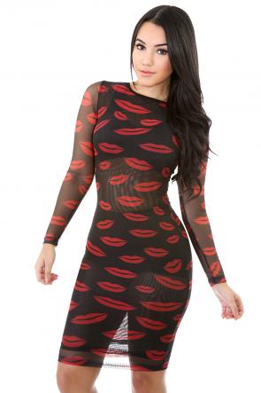 See-Through Kissy Lips Sheer Dress