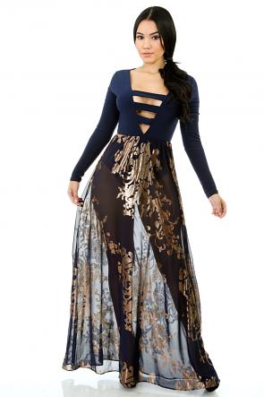 Triple Bust Strap Maxi Dress