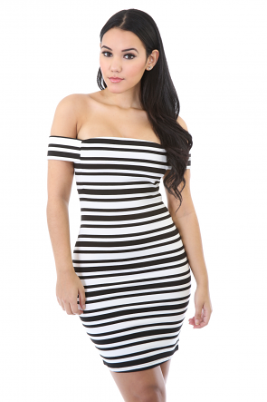 Off-shoulder Stripped Control Dress