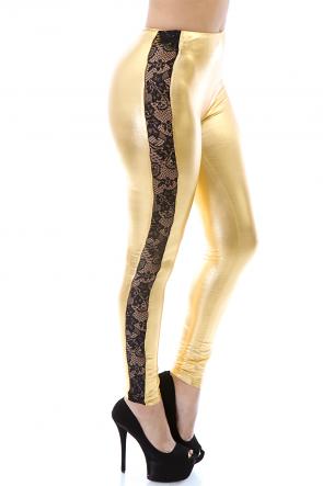 Smooth Metallic Lace Leggings