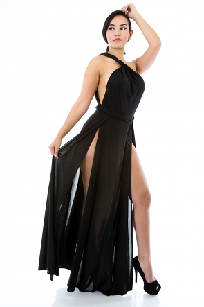 Shoulder Two Slit Maxi Dress