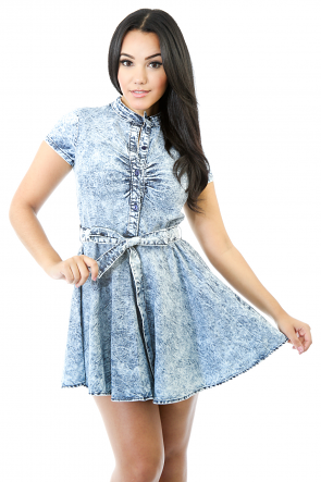 Short Sleeve Denim Washy Flare Dress