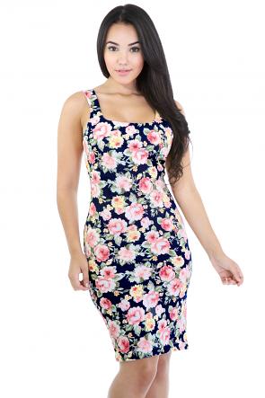 Flower Burst Denim Dress
