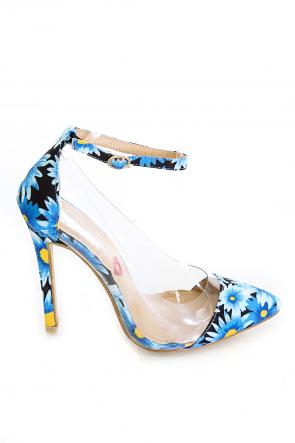 Spring Fling Blue Flower With Transparent Lucite Body Heels