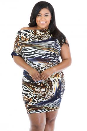 Drape Cheetah Dress