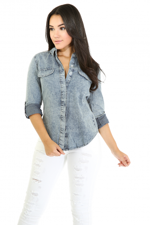 Pocket Appeal Denim Top