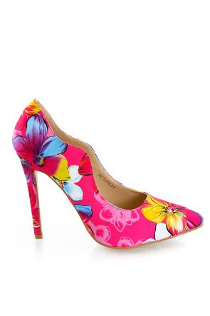 Pink Floral Print Pointed Toe Heels