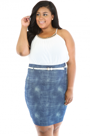 Denim Push Over Skirt