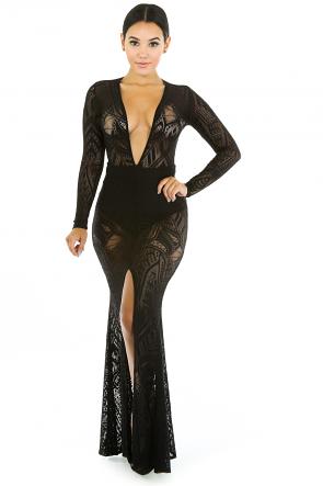 Deep V-Neckline See Me Through Maxi Dress