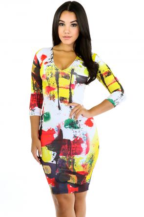Colored Splashed Dress