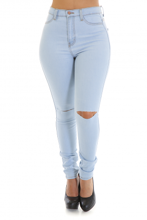 Knee Ripped Smooth Jeans