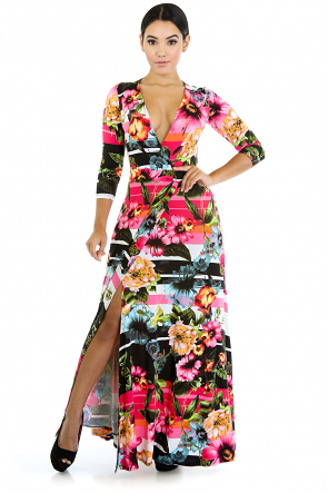 Floral Hidden Stripes Maxi Dress