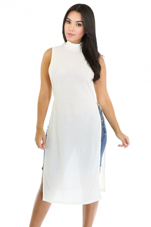Ribbed Knit Maxi Top