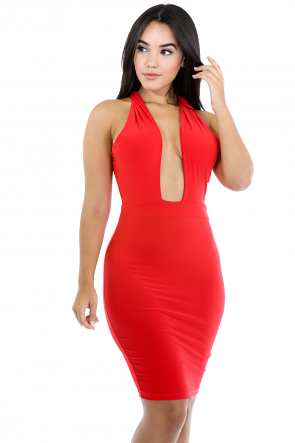 Twisted Back Bodycon Dress