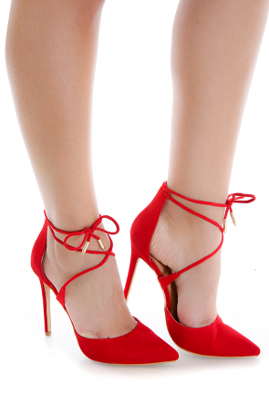 Red Ankle Tie Suede Heel