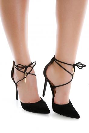 Black Ankle Tie Suede Heel