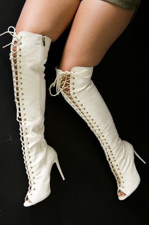 Faux Leather Peep Toe Lace Up Over The Knee Boots