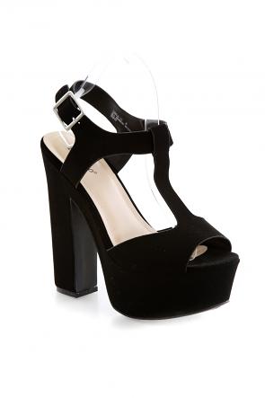 Black T-Strap Chunky Platform Sandals