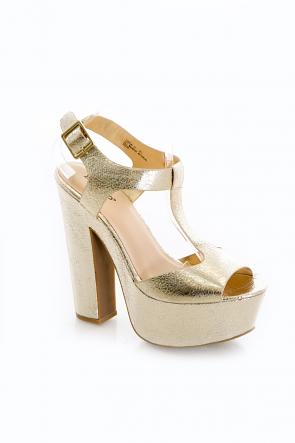 Gold Metallic Chunky Platform Sandal