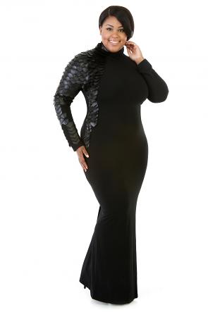 Right Knight Leatherette Long Sleeve Stretch Turtleneck Dress