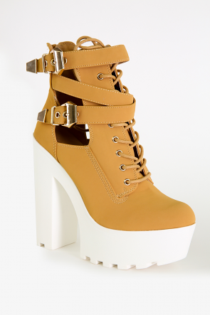 Camel Lace-up Lug Booties