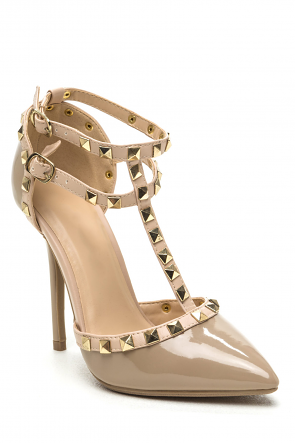 Faux Patent Leather Studded Pointed Toe Heels