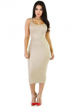 Clinging Curves Rib Knit Dress