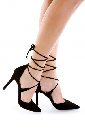 Black Faux Suede Wrap Around Single Sole Heel