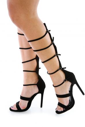 Black Faux Nubuck Strappy Gladiator Heels